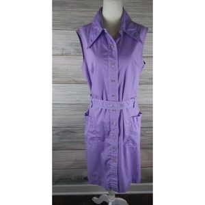 VINTAGE 70's Lavender Sleeveless Shirt Dress XL